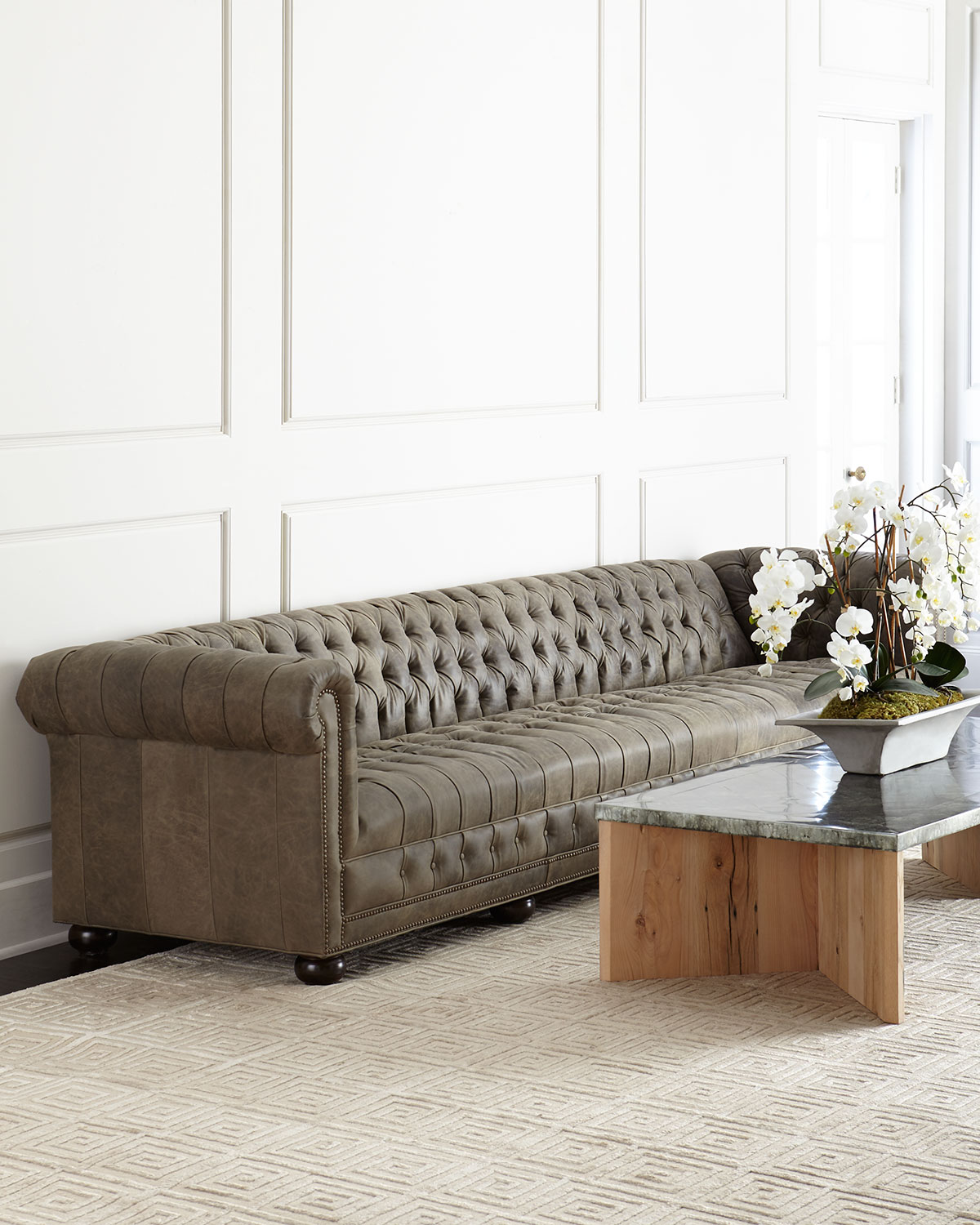 Old Hickory Tannery Wiley Chesterfield Leather Tufted Sofa 132 ...