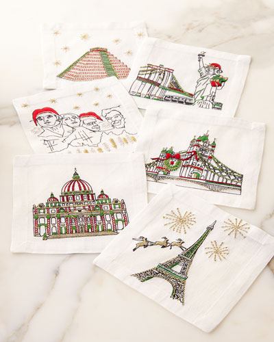 Holiday Cities Cocktail Napkins, 6-Piece Set