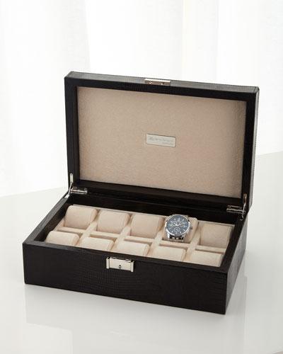 Black Leather 10-Watch Case