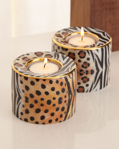 Animal-Print Tea Light Holders, Set of 2