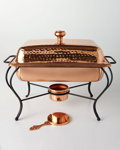 Star Home Designs 4-Quart Rectangular Copper-Plated Chafing Dish