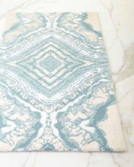 Abyss habidecor geode bath rug neiman marcus for Blue and white striped bathroom accessories