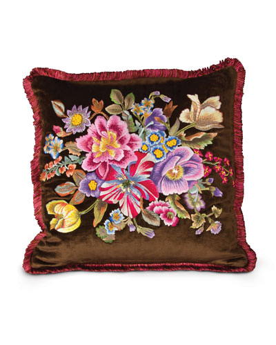 "Dutch Floral Pillow, 20""Sq."