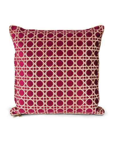 "Trellis Pattern Pillow, 20""Sq."
