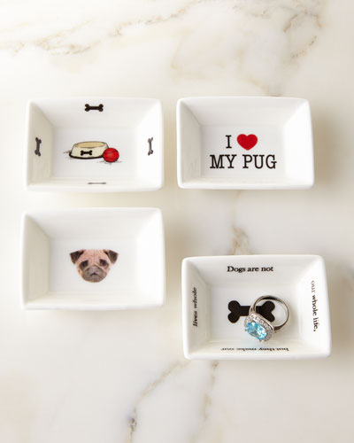 I Love My Pug Trinket Tray Set