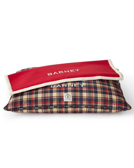 Small Plaid Dog Bed with Personalized Blanket