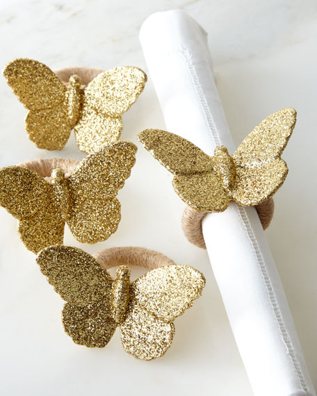 Juliska Sparkle Butterfly Napkin Rings, Set of 4