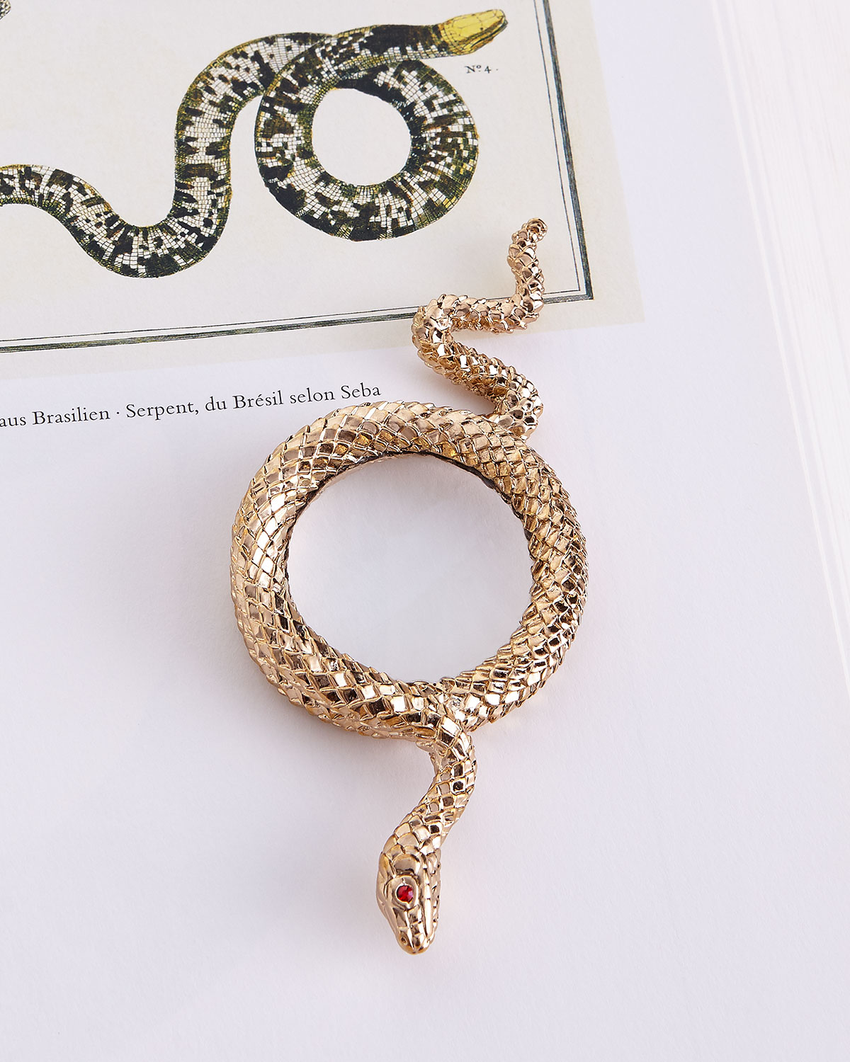 L'Objet Snake Small Gold-Plated Magnifying Glass