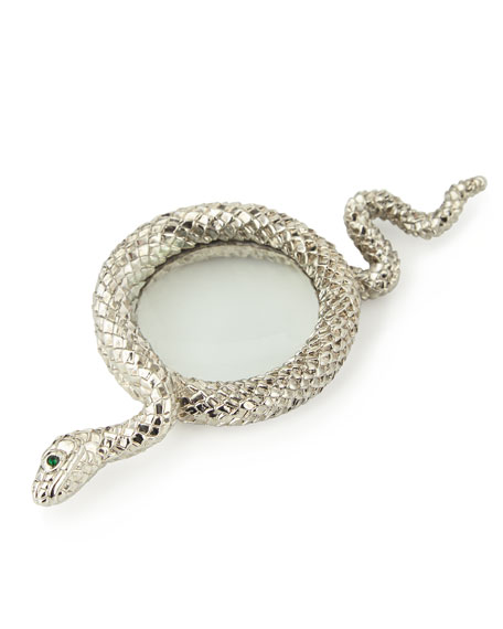 Snake Small Platinum-Plated Magnifying Glass