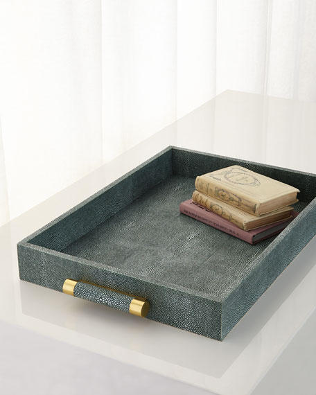 Emerald Shagreen Rectangular Tray