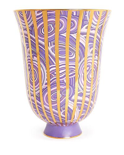 """""""Malachite"""" Stripe Urn Vase"""