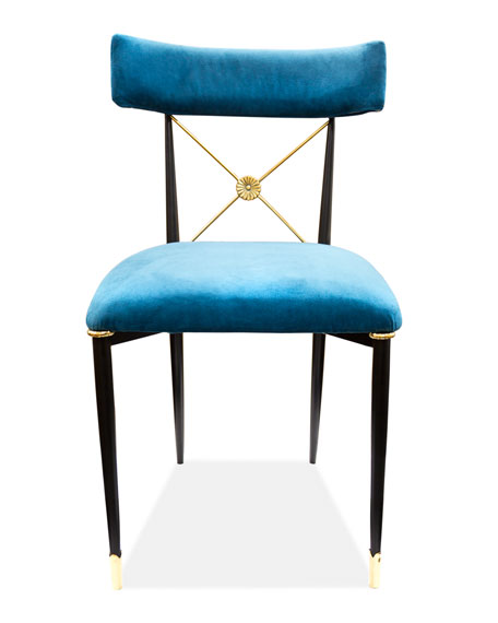 Image 1 of 3: Rider Blue Dining Chair