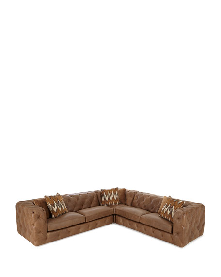Bernhardt Brewster Three-Piece Leather Sectional