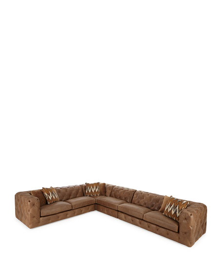 Bernhardt Brewster Four-Piece Leather Sectional