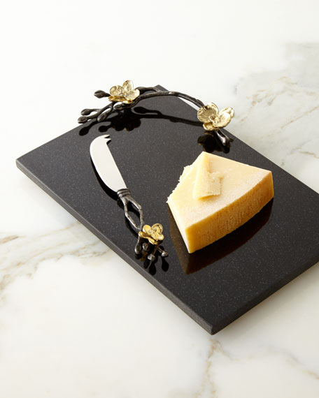 Michael Aram Gold Orchid Small Cheese Board & Knife