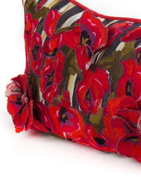 """Poppy Garden Lumbar Pillow, 38"""" x 8"""""""