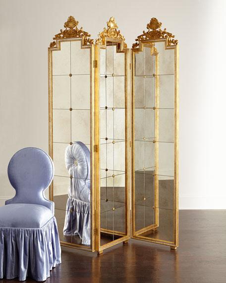Gia Three-Panel Mirrored Screen