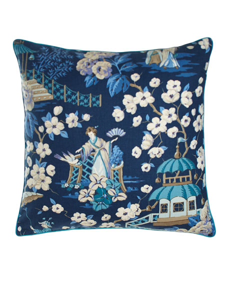 "Ming Pagoda Summer Palace Pillow, 22""Sq."