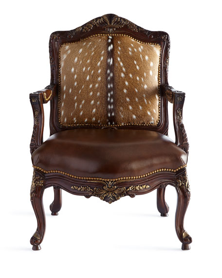 Image 2 of 3: Massoud Dani Hairhide Leather Bergere Chair