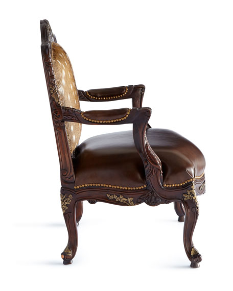 Image 3 of 3: Massoud Dani Hairhide Leather Bergere Chair