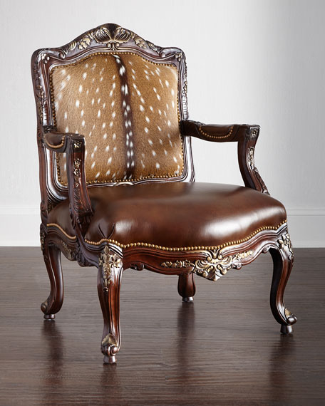 Image 1 of 3: Massoud Dani Hairhide Leather Bergere Chair