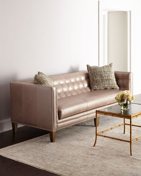 "Massoud Rosalind Leather Sofa 76"""