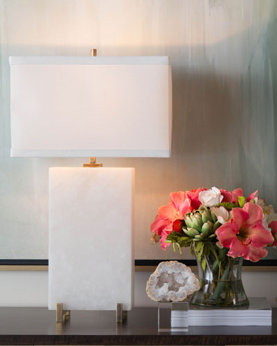 Alabaster Block Table Lamp