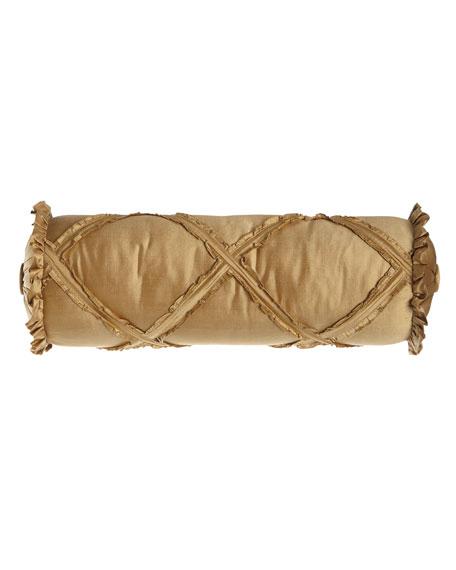 "Austin Horn Collection Diamond-Lattice Neck Roll Pillow, 6"" x 20"""