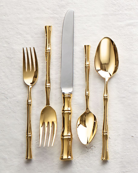 20-Piece Gold Bamboo Flatware Service : gold tableware - pezcame.com