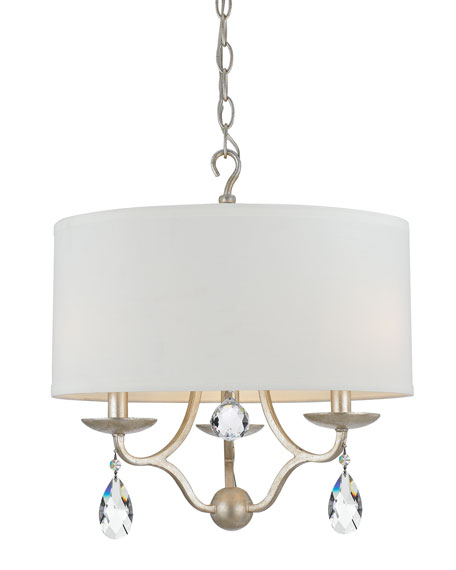 Crystorama Manning 3-Light Silver-Leaf Ceiling Mount
