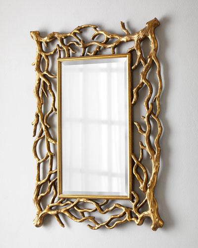 Golden Branch Rectangular Mirror