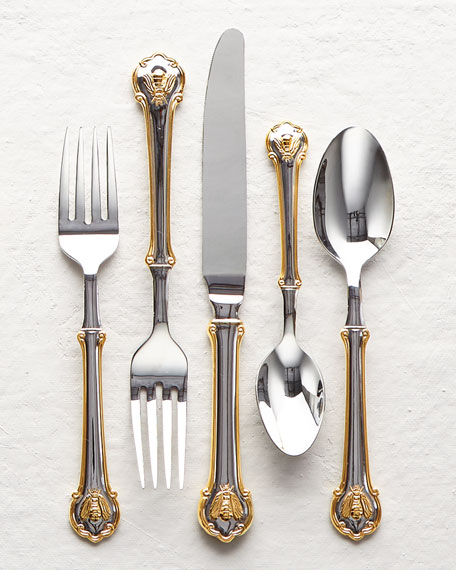 Wallace Silversmiths 45-Piece Gold-Tone Napoleon Bee Flatware