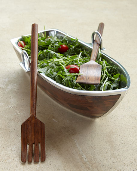 Godinger Wood Salad Boat with Servers