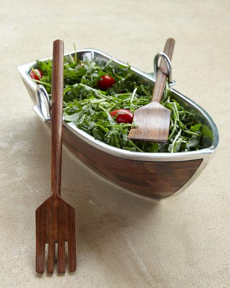 Godinger Wood Salad Boat with Servers