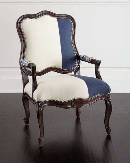 Massoud Madison Colorblock Bergere Chair