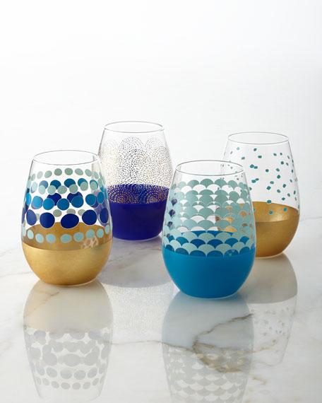 Neimanmarcus Dot Stemless Wine Glasses, 4-Piece Set