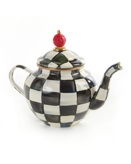 Mac Kenzie Childs Courtly Check 4 Cup Enamel Teapot by Mac Kenzie Childs