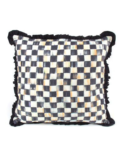 Courtly Check Ruffled Square Pillow