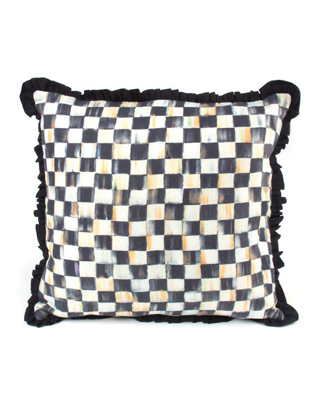 MacKenzie-Childs Courtly Check Ruffled Square Pillow