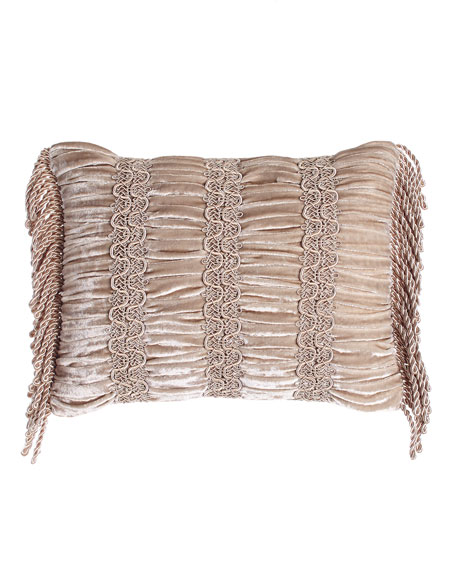 """Dahlia Ruched Velvet Pillow, 12"""" x 16"""""""