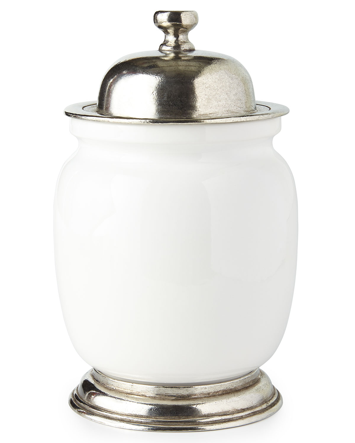 Neiman Marcus Medium Ceramic & Pewter Canister