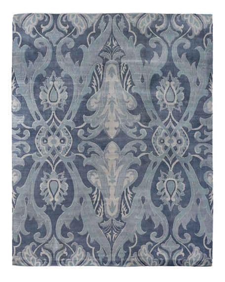 Exquisite Rugs Blue Damask Flatweave Rug, 8' x 10'