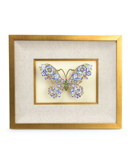 Jay Strongwater Single Mille Fiori Butterfly Wall Decor