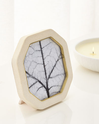 Octagonal Cream Shagreen Frame