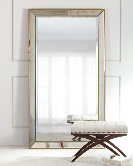 Aldina Golden Beaded Floor Mirror Neiman Marcus