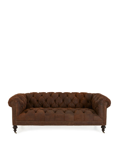 Old Hickory Tannery Morgan Rustic-Suede Chesterfield Sofa 86""