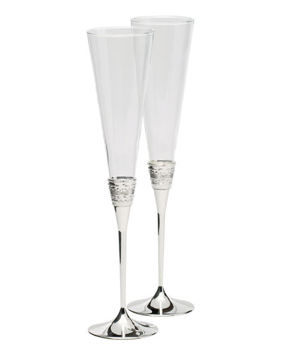 Silver With Love Toasting Flutes  Set of 2