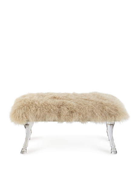 Image 2 of 2: Massoud Centaur Champagne Sheepskin Bench