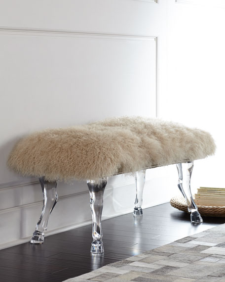 Image 1 of 2: Massoud Centaur Champagne Sheepskin Bench