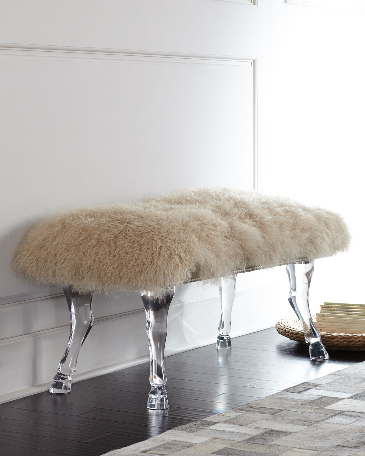 Massoud Centaur Champagne Sheepskin Bench